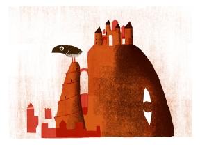 El castillo.Illustrazione di Simone Spellucci. Stampa digitale