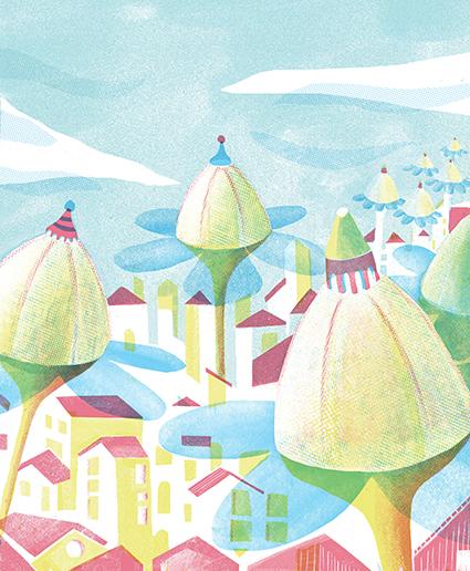 Metafora sul fiore. Illustrazione di Simone Spellucci. Stampa digitale