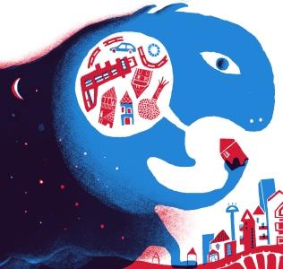 Quando arriva la notte. Illustrazione di Simone Spellucci. Stampa digitale